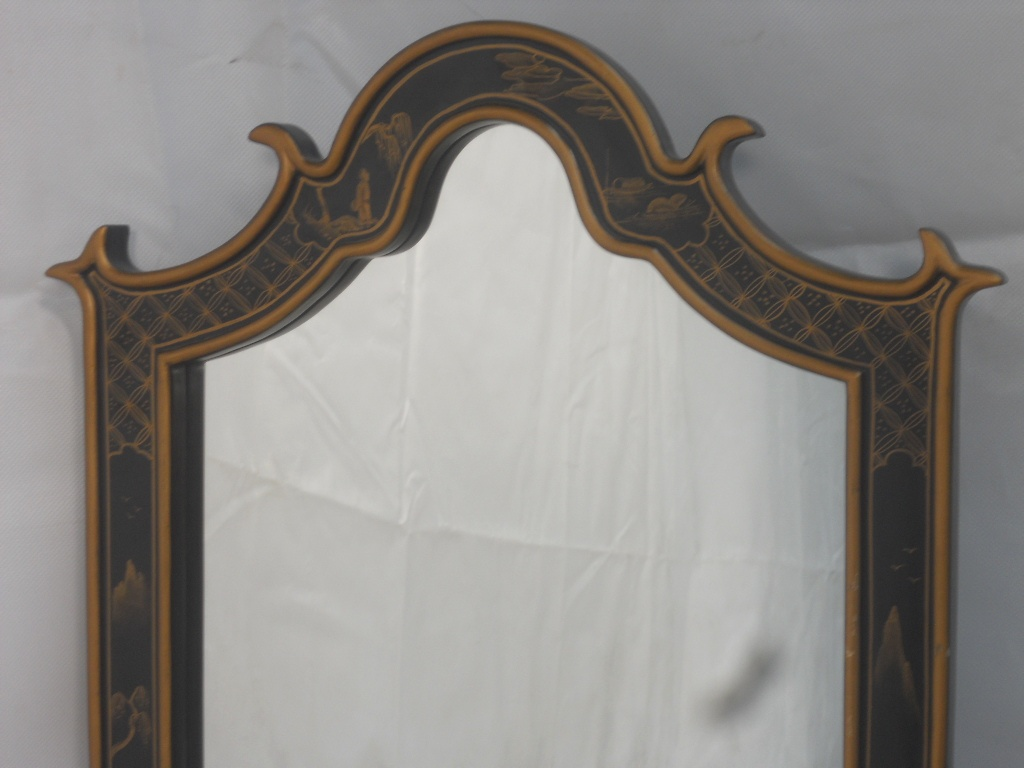 Antique Oriental Style Hanging Wall Mirror